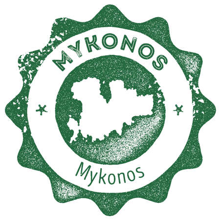 Mykonos map vintage stamp. Retro style handmade label, badge or element for travel souvenirs. Dark green rubber stamp with island map silhouette. Vector illustration.