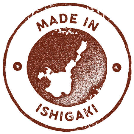 Ishigaki map vintage stamp. Retro style handmade label, badge or element for travel souvenirs. Red rubber stamp with island map silhouette. Vector illustration.