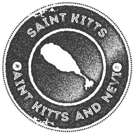 Saint Kitts map vintage stamp. Retro style handmade label, badge or element for travel souvenirs. Dark grey rubber stamp with island map silhouette. Vector illustration.