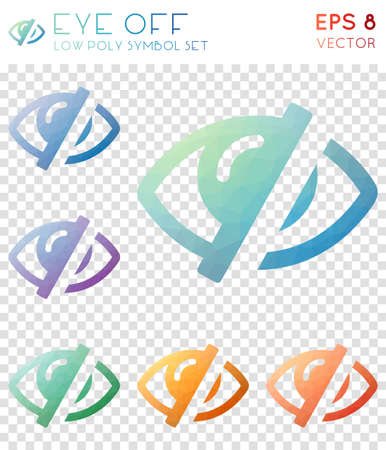 Eye off geometric polygonal icons. Artistic mosaic style symbol collection. Decent low poly style. Modern design. Eye off icons set for infographics or presentation.