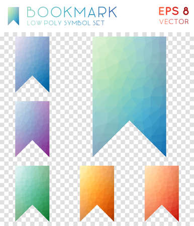 Bookmark geometric polygonal icons. Alluring mosaic style symbol collection. Excellent low poly style. Modern design. Bookmark icons set for infographics or presentation. Illusztráció
