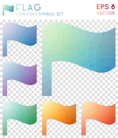 Flag geometric polygonal icons. Artistic mosaic style symbol collection. Overwhelming low poly style. Modern design. Flag icons set for infographics or presentation.