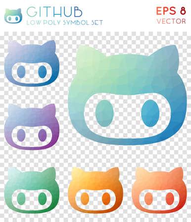 Github geometric polygonal icons. Astonishing mosaic style symbol collection. Ideal low poly style. Modern design. Github icons set for infographics or presentation.