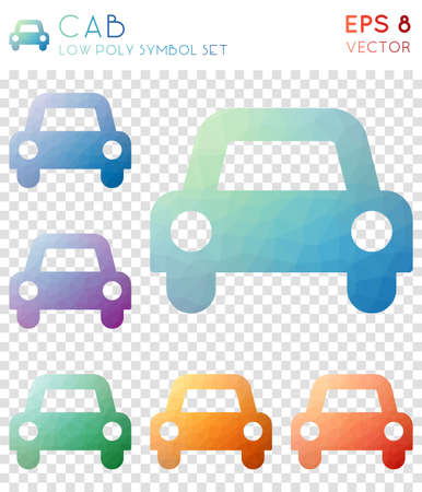 Cab geometric polygonal icons. Alluring mosaic style symbol collection. Likable low poly style. Modern design. Cab icons set for infographics or presentation. Illusztráció