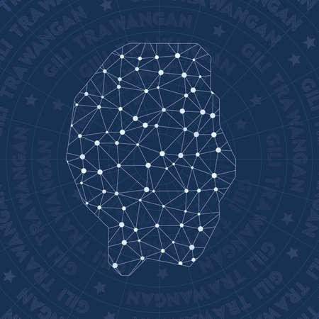 Gili Trawangan network, constellation style island map. Pleasant space style, modern design. Gili Trawangan network map for infographics or presentation.