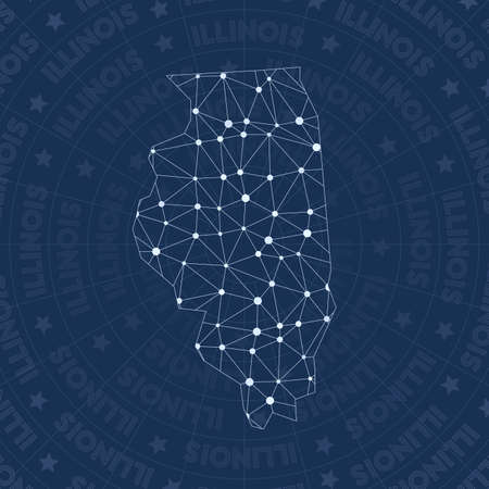 Illinois network, constellation style us state map. Tempting space style, modern design. Illinois network map for infographics or presentation.