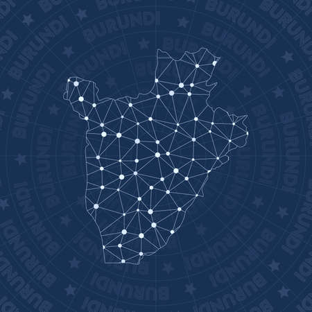 Burundi network, constellation style country map. Authentic space style, modern design. Burundi network map for infographics or presentation.