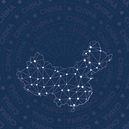 China network, constellation style country map. Decent space style, modern design. China network map for infographics or presentation.