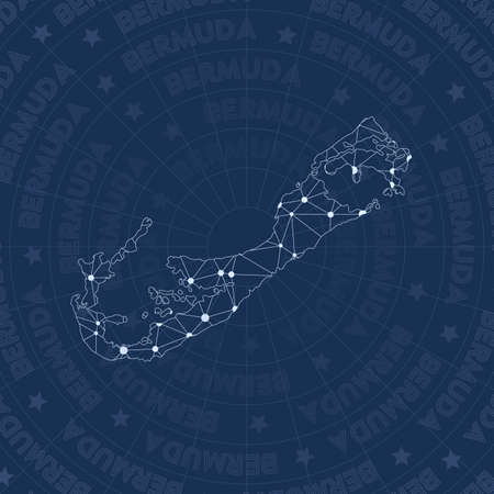 Bermuda network, constellation style island map. Imaginative space style, modern design. Bermuda network map for infographics or presentation.