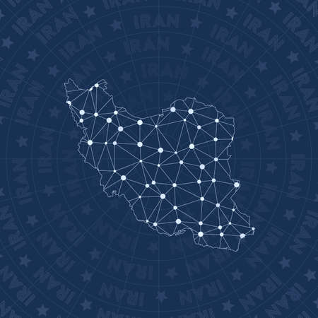 Iran network, constellation style country map. Magnificent space style, modern design. Iran network map for infographics or presentation.