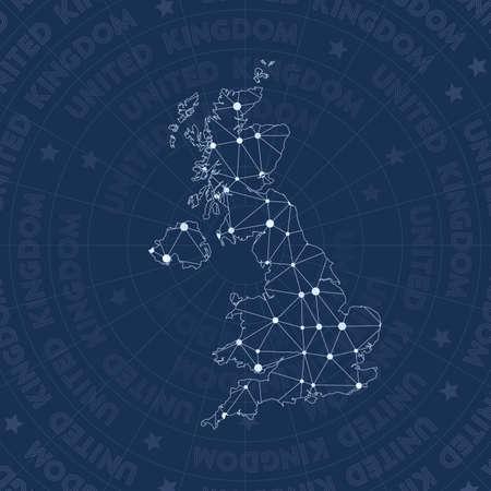 Réseau du Royaume-Uni, carte du pays de style constellation. Style d'espace glamour, design moderne. Carte du réseau du Royaume-Uni pour infographie ou présentation.