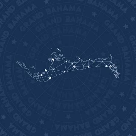 Grand Bahama network, constellation style island map. Posh space style, modern design. Grand Bahama network map for infographics or presentation.