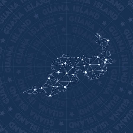 Guana Island network, constellation style island map. Quaint space style, modern design. Guana Island network map for infographics or presentation. 矢量图像