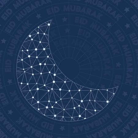 Symbole du réseau Eid. Symbole de style de constellation incroyable. Style de réseau exquis. Design moderne. Symbole de l'Aïd pour infographie ou présentation. Vecteurs