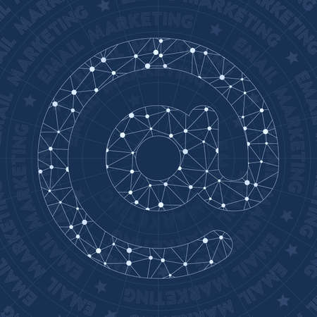 Email network symbol. Actual constellation style symbol. Fantastic network style. Modern design. Email symbol for infographics or presentation.  イラスト・ベクター素材