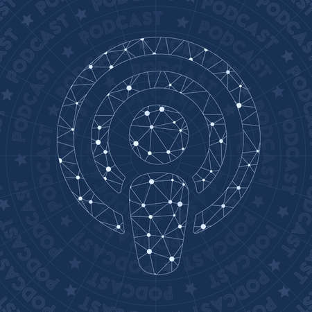 Podcast network symbol. Amazing constellation style symbol. Splendid network style. Modern design. Podcast symbol for infographics or presentation. Stock Vector - 106799103