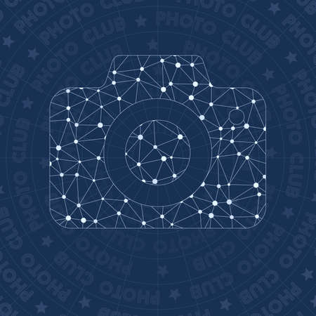 Photo network symbol. Admirable constellation style symbol. Enchanting network style. Modern design. Photo symbol for infographics or presentation.