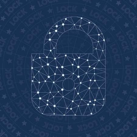 Lock network symbol. Amazing constellation style symbol. Admirable network style. Modern design. Lock symbol for infographics or presentation.