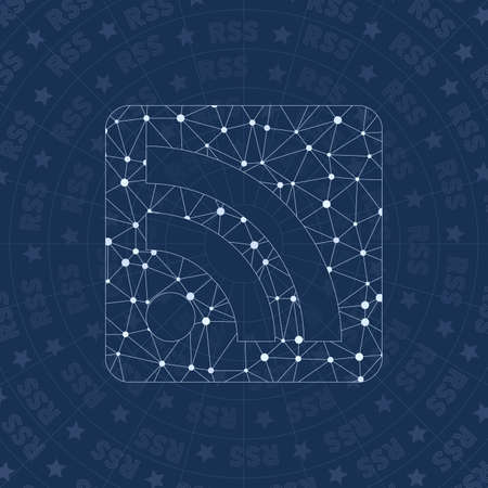Rss alt network symbol. Amusing constellation style symbol. Captivating network style. Modern design. Rss alt symbol for infographics or presentation. 일러스트