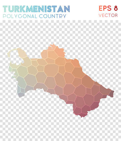 Turkmenistan polygonal map, mosaic style country. Ecstatic low poly style, modern design. Turkmenistan polygonal map for infographics or presentation.
