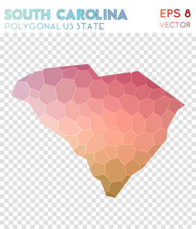 South Carolina polygonal map, mosaic style us state. Breathtaking low poly style, modern design. South Carolina polygonal map for infographics or presentation.
