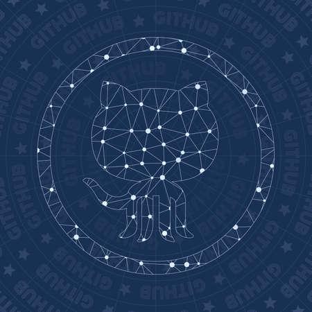 Github network symbol. Alive constellation style symbol. Valuable network style. Modern design. Github symbol for infographics or presentation.