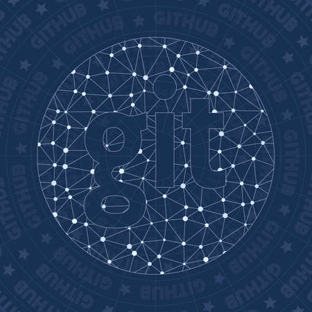 Github circled alt network symbol. Alive constellation style symbol. Vibrant network style. Modern design. Github circled alt symbol for infographics or presentation.