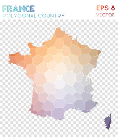 France polygonal map, mosaic style country. Fresh low poly style, modern design. France polygonal map for infographics or presentation.