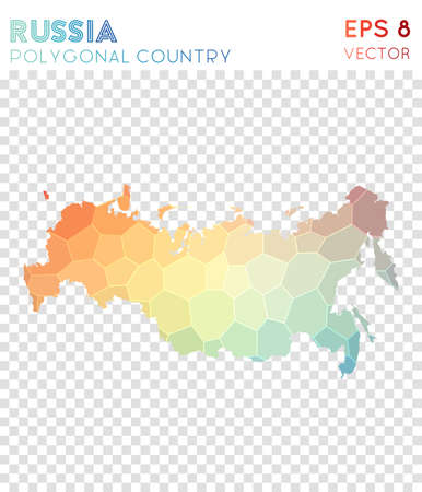 Russia polygonal map, mosaic style country. Awesome low poly style, modern design. Russia polygonal map for infographics or presentation. Çizim