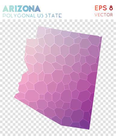 Arizona polygonal map, mosaic style us state. Splendid low poly style, modern design. Arizona polygonal map for infographics or presentation.