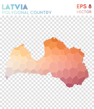 Latvia polygonal map, mosaic style country. Radiant low poly style, modern design. Latvia polygonal map for infographics or presentation.