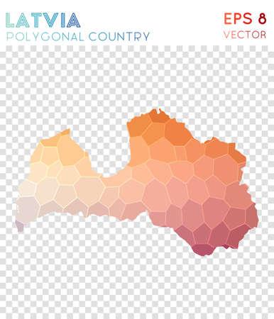 Latvia polygonal map, mosaic style country. Radiant low poly style, modern design. Latvia polygonal map for infographics or presentation. Ilustração