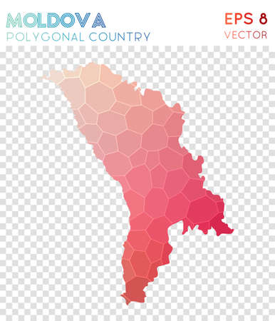 Moldova polygonal map, mosaic style country. Ravishing low poly style, modern design. Moldova polygonal map for infographics or presentation.