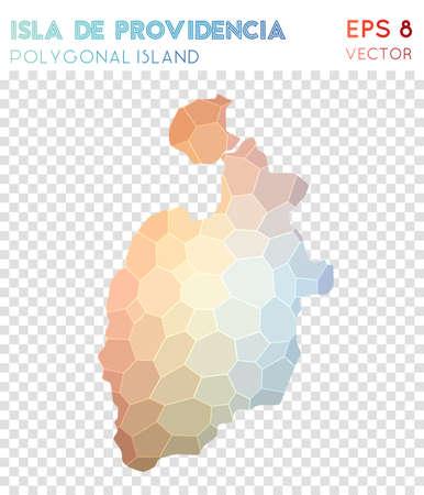 Isla de Providencia polygonal map, mosaic style island. Symmetrical low poly style, modern design. Isla de Providencia polygonal map for infographics or presentation.