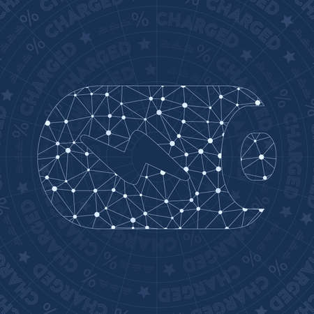 100% network symbol. Actual constellation style symbol. Splendid network style. Modern design. 100% symbol for infographics or presentation.