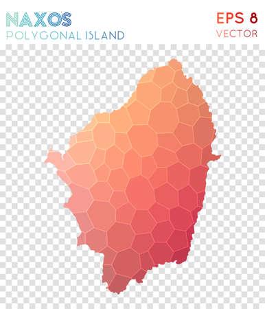 Naxos polygonal map, mosaic style island. Emotional low poly style, modern design. Naxos polygonal map for infographics or presentation. Illustration