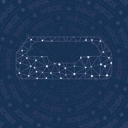 Inbox network symbol. Alluring constellation style symbol. Gorgeous network style. Modern design. Inbox symbol for infographics or presentation. Illusztráció