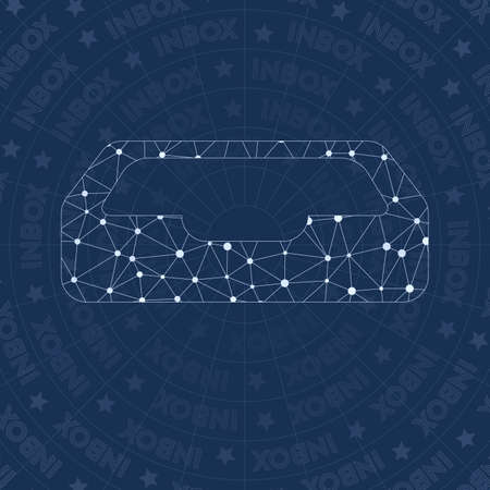 Inbox network symbol. Alluring constellation style symbol. Gorgeous network style. Modern design. Inbox symbol for infographics or presentation. Illustration