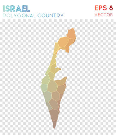 Israel polygonal map, mosaic style country. Mesmeric low poly style, modern design. Israel polygonal map for infographics or presentation.
