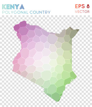 Kenya polygonal map, mosaic style country. Optimal low poly style, modern design. Kenya polygonal map for infographics or presentation.