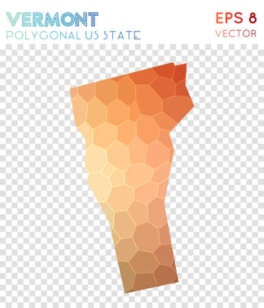 Vermont polygonal map, mosaic style us state. Comely low poly style, modern design. Vermont polygonal map for infographics or presentation. Illustration