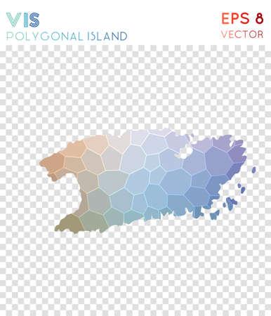 Vis polygonal map, mosaic style island. Radiant low poly style, modern design. Vis polygonal map for infographics or presentation.