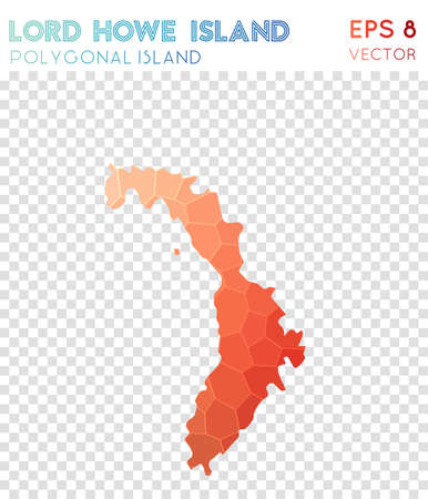 Lord Howe Island polygonal map, mosaic style island. Classic low poly style, modern design. Lord Howe Island polygonal map for infographics or presentation.