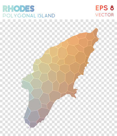 Rhodes polygonal map, mosaic style island. Graceful low poly style, modern design. Rhodes polygonal map for infographics or presentation.