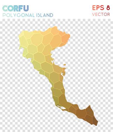 Corfu polygonal map, mosaic style island. Mesmeric low poly style, modern design. Corfu polygonal map for infographics or presentation.