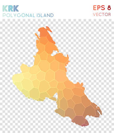 Krk polygonal map, mosaic style island. Appealing low poly style, modern design. Krk polygonal map for infographics or presentation.