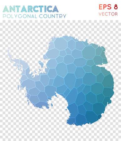 Wielokątna mapa Antarktydy, kraj w stylu mozaiki. Atrakcyjny styl low poly, nowoczesny design. Wielokątna mapa Antarktydy do infografiki lub prezentacji. Ilustracje wektorowe