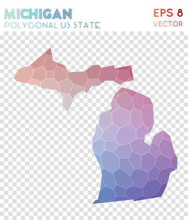 Michigan polygonal map, mosaic style us state. Worthy low poly style, modern design. Michigan polygonal map for infographics or presentation. Illustration