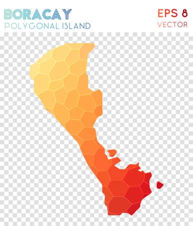 Boracay polygonal map, mosaic style island. Interesting low poly style, modern design. Boracay polygonal map for infographics or presentation. Illustration