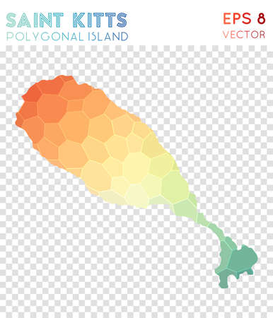 Saint Kitts polygonal map, mosaic style island. Immaculate low poly style, modern design. Saint Kitts polygonal map for infographics or presentation.